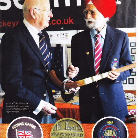Two 1948 Olympians, John Peake (GB) and Balbir Singh (India) meet at The Hockey Museum in 2012 | Courtesy of The Hockey Museum