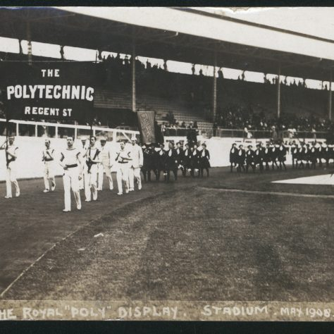 Black and white photo of the Royal Poly Display | Image courtesy of University of Westminster Archives