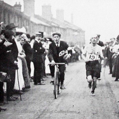 Dorando Pietri during a marathon