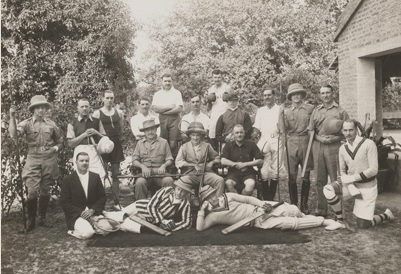 Officers of 1st Battalion The Loyal Regiment (North Lancashire), representing the range of sports played by the unit, Cawnpore, 1936.