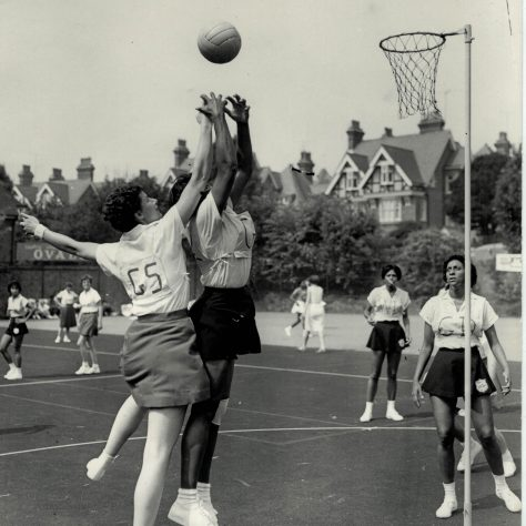Netball players competing in 1st World Tournament, Eastbourne, showing England v Jamaica, 1963 |  England Netball Heritage Archive