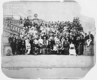 Standing shoulder to shoulder with their employees, both Wellcome and Burroughs are visible in the centre of the second row: Burroughs in a white cap, Wellcome two places to his left, distinguishable by his flamboyant moustache. (Indeed, it's rare to see Messrs. Burroughs and Wellcome together in the one photograph).   Image courtesy of Wellcome Images