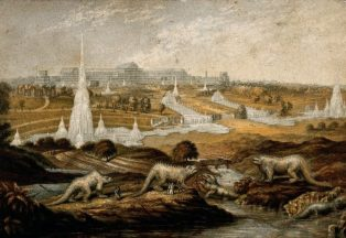 Crystal Palace Park, shortly after its opening in the mid-19th century. The cricket ground took over the area occupied by the large fountain to the left of the picture, beyond the dinosaurs. | Image courtesy of Wellcome Images