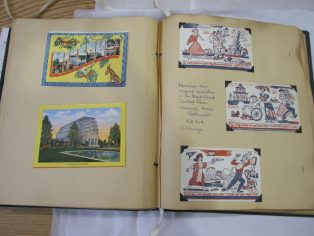 Some of Elaine's many postcards she collected on her travels. | Image courtesy of Glasgow Women's Library