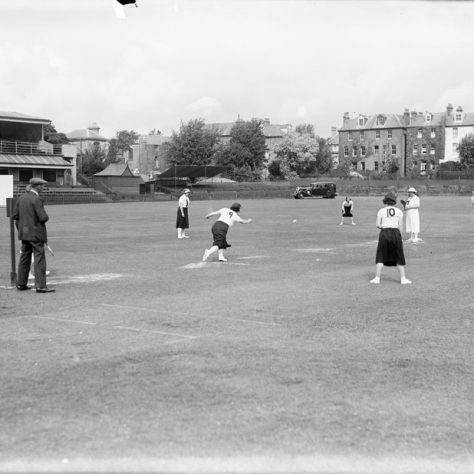 All-female stoolball teams battling it out at the County Ground, Hove, c1930s. Image obtained from a glass plate negative of the Brighton & Hove Herald newspaper [DB1124.346] | Image courtesy of Royal Pavilion and Museums, Brighton & Hove