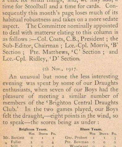 """Disappointment at inclement weather putting a stop to play was all too clear to see. From the Pavilion """"Blues"""" magazine, December 1917 [BH700117] 