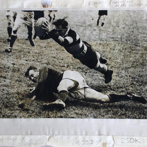 Bleddyn scores v South Africa | Image courtesy of Glamorgan Archives