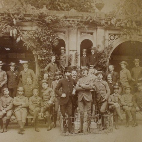 Group photograph of unidentifed cycling club (probably South Warwickshire and Leamington Club), late 19th century.   Warwickshire County Record Office reference CR1844/14