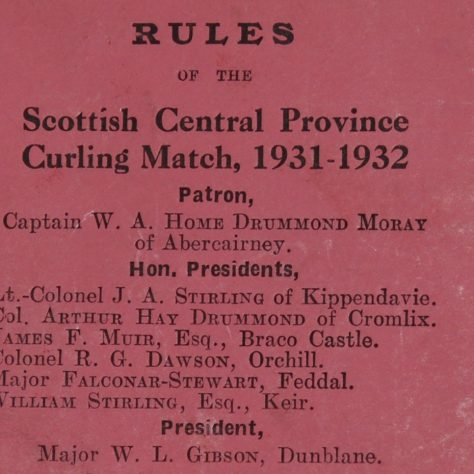 Pink paper with title: Rules of the Scottish Central Province Curling Match 1931-1932 | Image courtesy of Stirling Archives.
