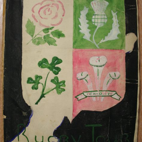 The scrapbook presented to Bleddyn Williams. | Image courtesy of Glamorgan Archives