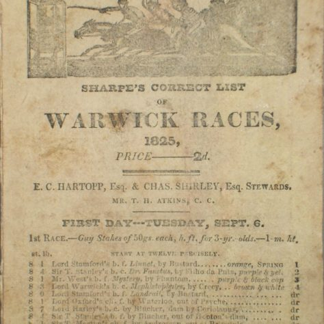 Front of race card for Warwick Races, 1825. | Warwickshire County Record Office reference CR 3400