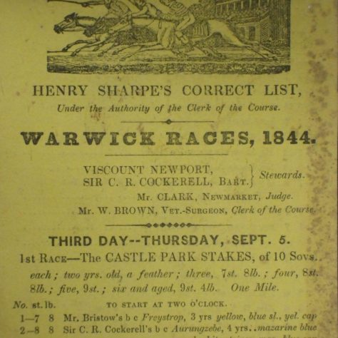 Yellowed and faded race card promoting the Warwich horse races of 1844 | Warwickshire County Record Office reference CR 3444