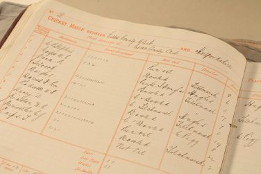 One of the games from the earliest surviving scorebook, beginning in 1879. One of the Silcock brothers played in this game against Hertfordshire – he was bowled out for 17. | Originally published on the Essex Record Office blog  (D/Z 82/2/1)