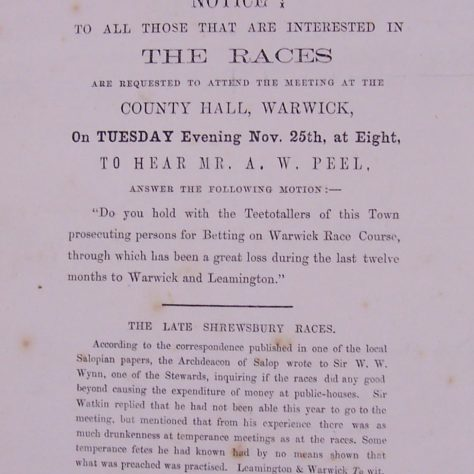 Notice of meeting at the County Hall, where Arthur Peel MP would speak on the betting storm surrounding the races. | Warwickshire County Record Office reference CR 1227