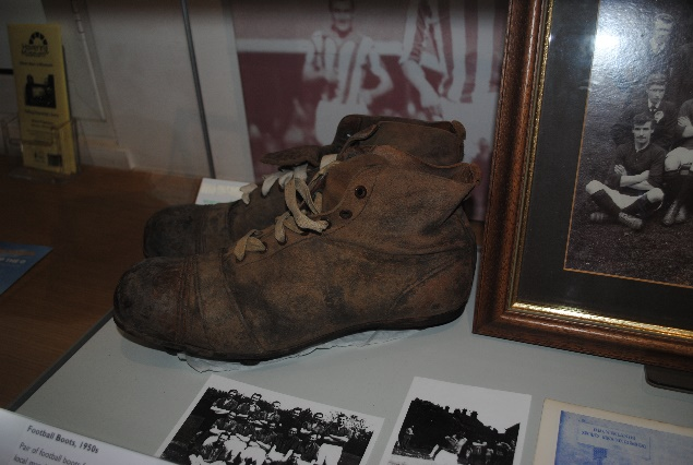 Football Boots Worn by John Aldborough. | Originally published on the Havering Museum blog