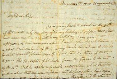 A letter Tom wrote to his father from Rugby in 1851. | Image courtesy of Greg de Moore