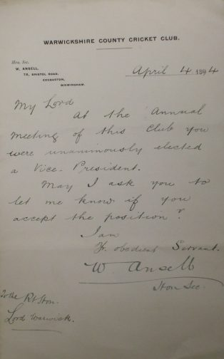 Letter from Warwickshire County Cricket Club to Lord Warwick, advising him he has been elected a Vice-President, 4th April 1894. | Warwickshire County Record Office reference CR 1886/Box833/62.