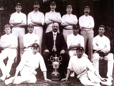 The players of Colne CC with the Lancashire League trophy won in 1910. | Wikipedia