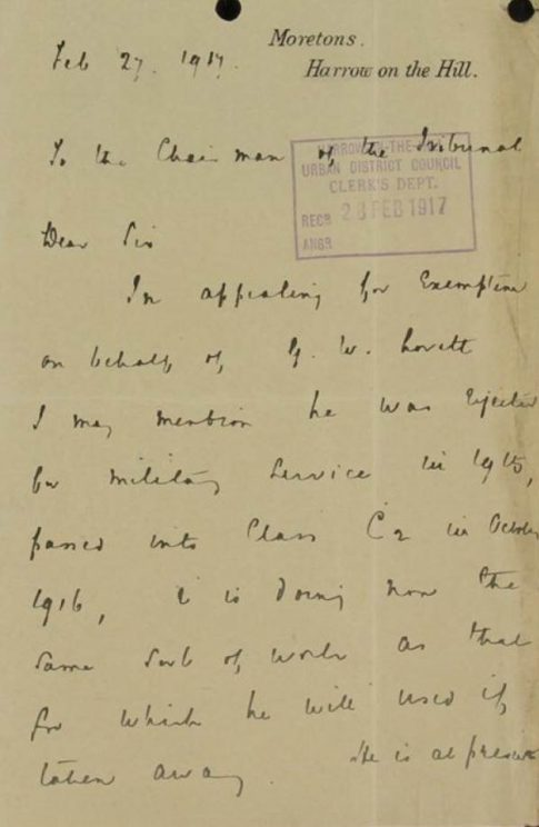 Letter to tribunal from Harrow School highlighting George's previous attempt to enlist. | National Archives catalogue reference: MH 47/94/23. Reproduced under the Open Government License