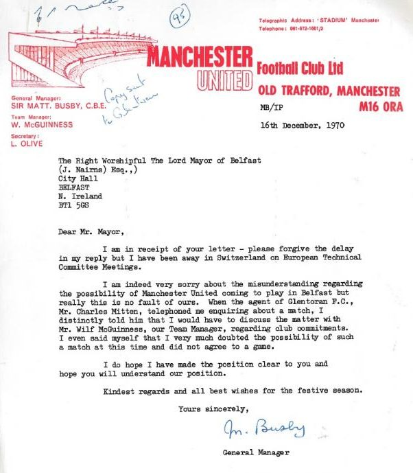 Letter to the Lord Mayor of Belfast, signed by former Manchester United manager, Sir Matt Busby, 1970. | Image originally published on the Public  Record Office of Northern ireland website, and reproduced under the terms of the Open Government License.