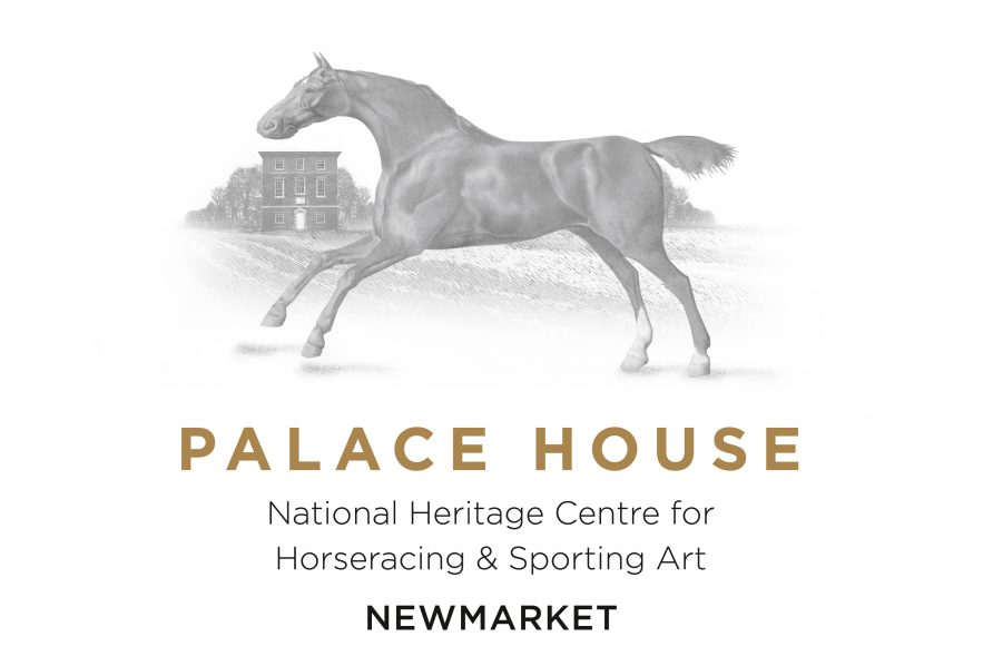 Black and white illustration of a running horse above the text: Palace House National Heritage Centre for Horseracing & Sporting Art Newmarket | Palace House