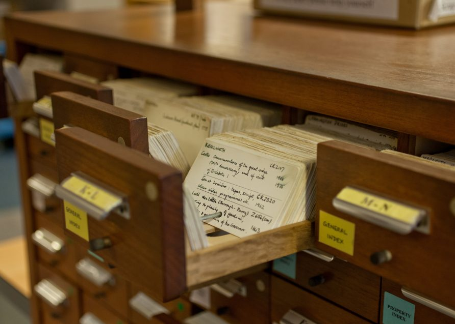 """Card index at Warwickshire County Record Office 