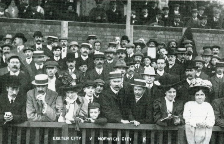 The 'old grandstand' at St James Park, Exeter. | Image courtesy of the Grecian Archive