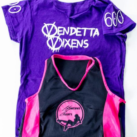 Purple Vendetta Vixens shirt and Shoetown Slayers vest | Image courtesy of Glasgow Women's Library