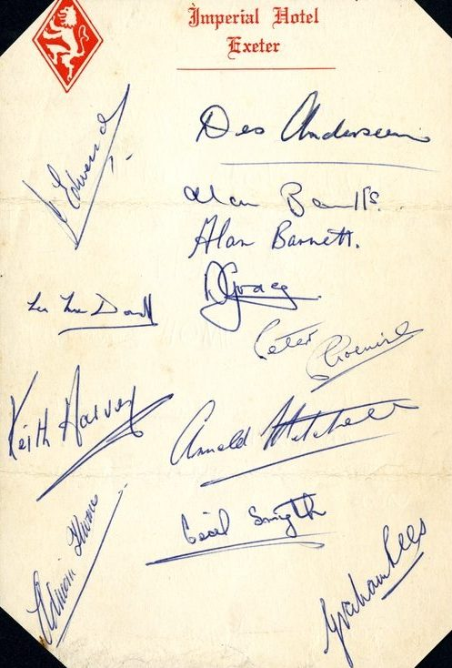 1964 Exeter City squad signatures. | Image courtesy of the Grecian Archive