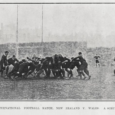 A scrum between Wales and New Zealand (the Original All Blacks) during their match in Cardiff in December 1905 | Credited to Bowden Brothers photography [Public domain or Public domain], via Wikimedia Commons