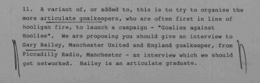 'Goalies against Hoolies' – section of a memo by Bernard Ingham, 20/06/85 | National Archives catalogue reference: PREM 19/1528. Reproduced under the Open Government License
