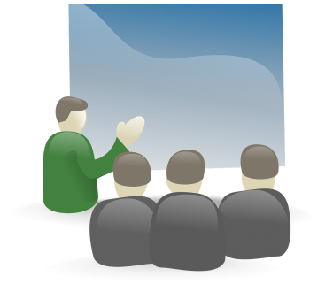 Illustration of a person delivering a presentation to three people |  Clker-Free-Vector-Images / Pixabay