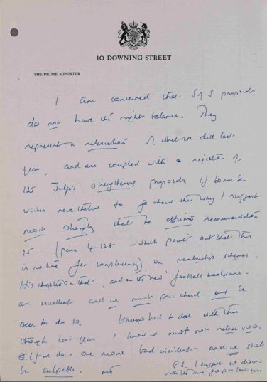 'We must not relax now…'. Note by the Prime Minister, 10/01/86 | National Archives catalogue reference: PREM 19/1789. Reproduced under the Open Government License