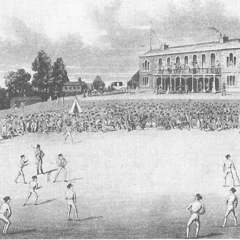 Black and white engraving of the cricket ground at Darnall with players on the green watched by a large crowd | Image scanned from The History of the City of Sheffield 1843-1993, via Wikimedia Commons