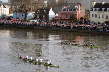 View of the finish of the 2007 Oxford - Cambridge Boat Race, taken from Chiswick Bridge in London