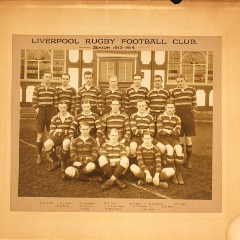 1913-14 team photograph featuring three international captains Turner (Scotland), Lloyd (Ireland) and Poulton (England)   Image courtesy of Liverpool Record Office