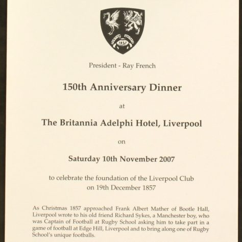 Liverpool St Helens 150th Anniversary Dinner programme   Image courtesy of Liverpool Record Office