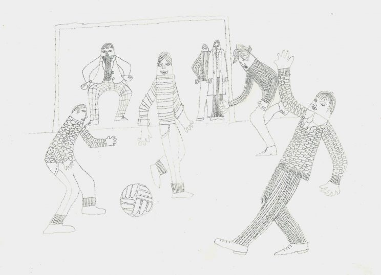 'Football' - drawing of street football in 1960s Glasgow for the 'Time of One's Own' sociological study. Believed to be by Miss S Bayne, art teacher. | Image courtesy of University of Glasgow Archives & Special Collections