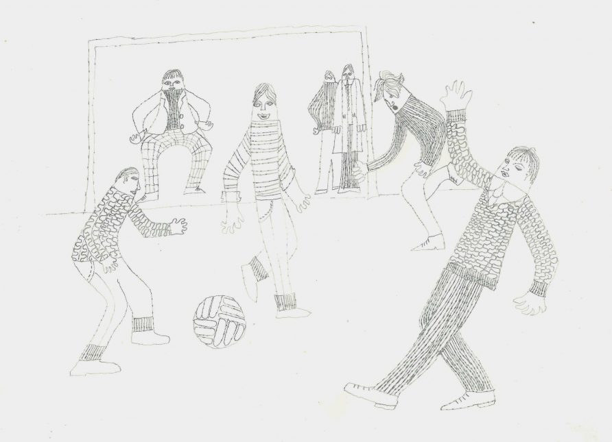 'Football' - drawing of street football in 1960s Glasgow for the 'Time of One's Own' sociological study. Believed to be by Miss S Bayne, art teacher.   Image courtesy of University of Glasgow Archives & Special Collections
