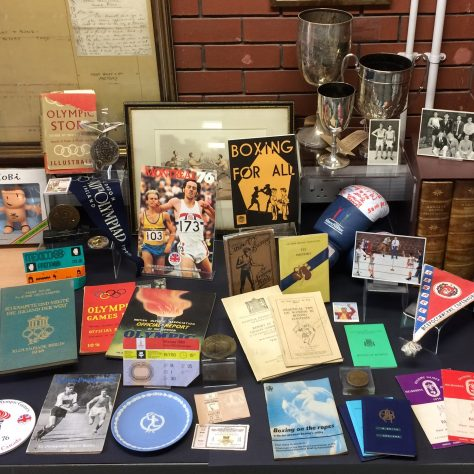 Display of materials from the Amateur Boxing Association archive | Image courtesy of De Montfort University Special Collections