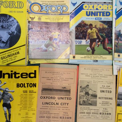 Multiple blue and yellow Oxford United matchday programmes | DMU Special Collections