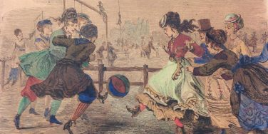 Illustration of well-dressed ladies playing football | National Football Museum