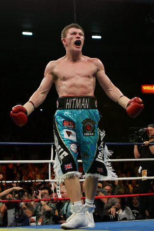 LAS VEGAS - JUNE 23:  Ricky Hatton of Great Britain reacts after knocking out Jose Luis Castillo of Mexico in the fourth round during their junior welterweight bout at Thomas & Mack Center on June 23, 2007 in Las Vegas, Nevada.  (Photo by Ethan Miller/Getty Images)