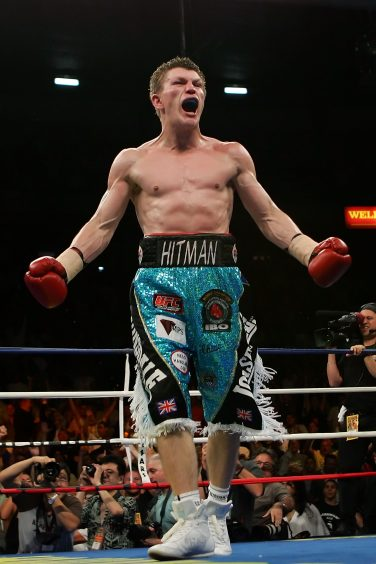 Ricky Hatton celebrating in the ring | Ethan Miller/Getty Images