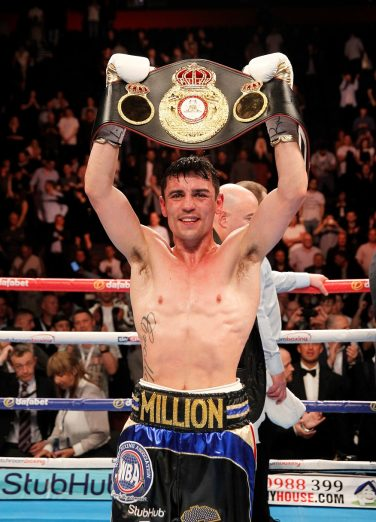 Anthony Crolla celebrating with belt in boxing ring | Courtesy of Anthony Crolla