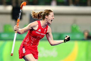 Helen Richardson-Walsh celebrating a goal scored in an Olympics hockey match for Great Britain | WORLDSPORTPICS/FRANK UIJLENBROEK