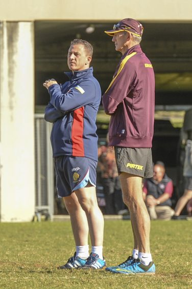 Damian Clayton pictured with Wayne Bennett (legendary Australian RL Coach) during an ANZAC Centenary commemoration match between the GB Armed Forces RL team and their Australian counterparts. | Courtesy of Damian Clayton
