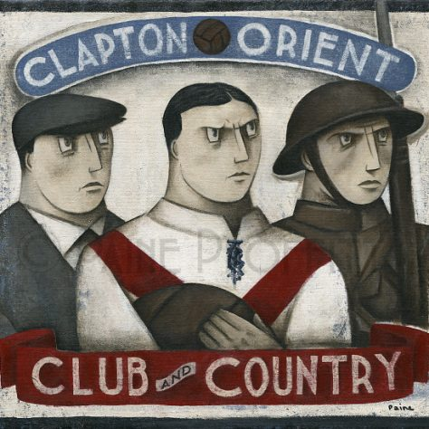 Painting on brick wall of three men with text Clapton Orient, Club and Country | Paine Proffitt