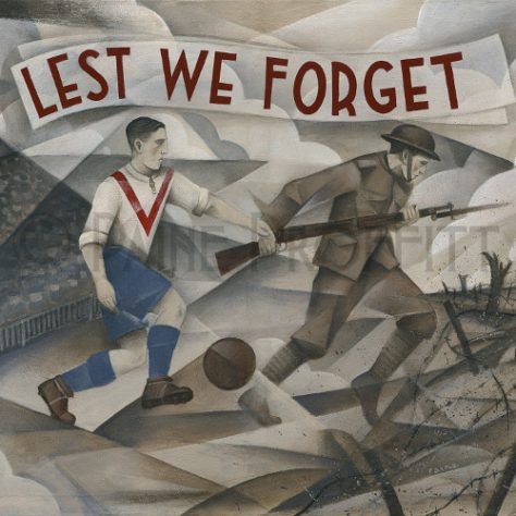 Painting of a footballer and soldier with text Lest We Forget | Paine Proffitt