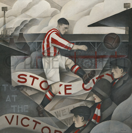 'Memories Of The Victoria' Painting of Stoke's Victoria ground with player and fans | Paine Proffitt